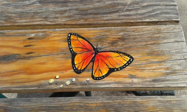 Rysunek motyla na stoliku