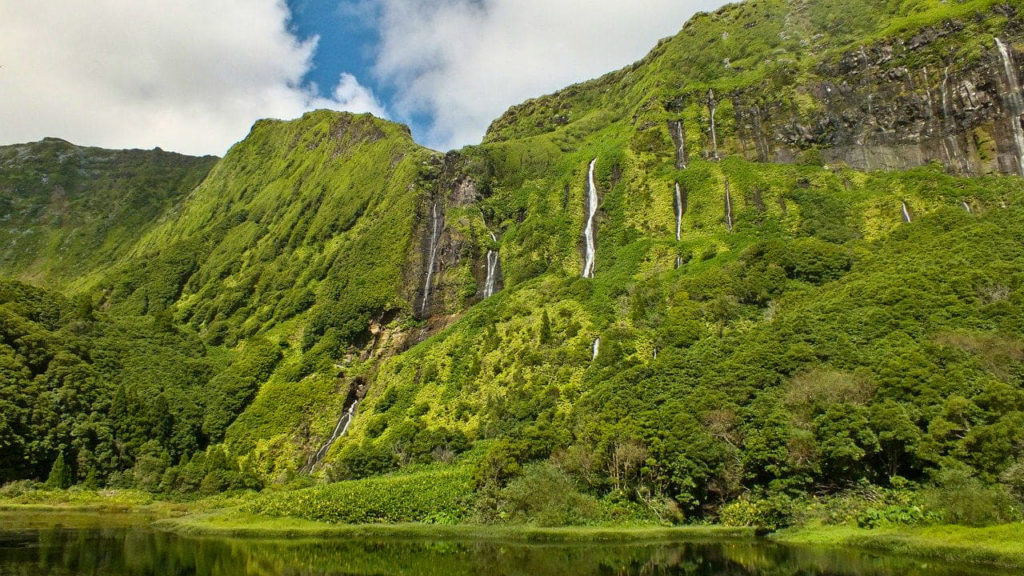 Azory, Azores, Flores, wodospad, waterfall, cascata